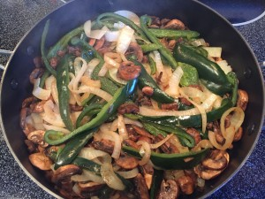 Onions peppers mushrooms